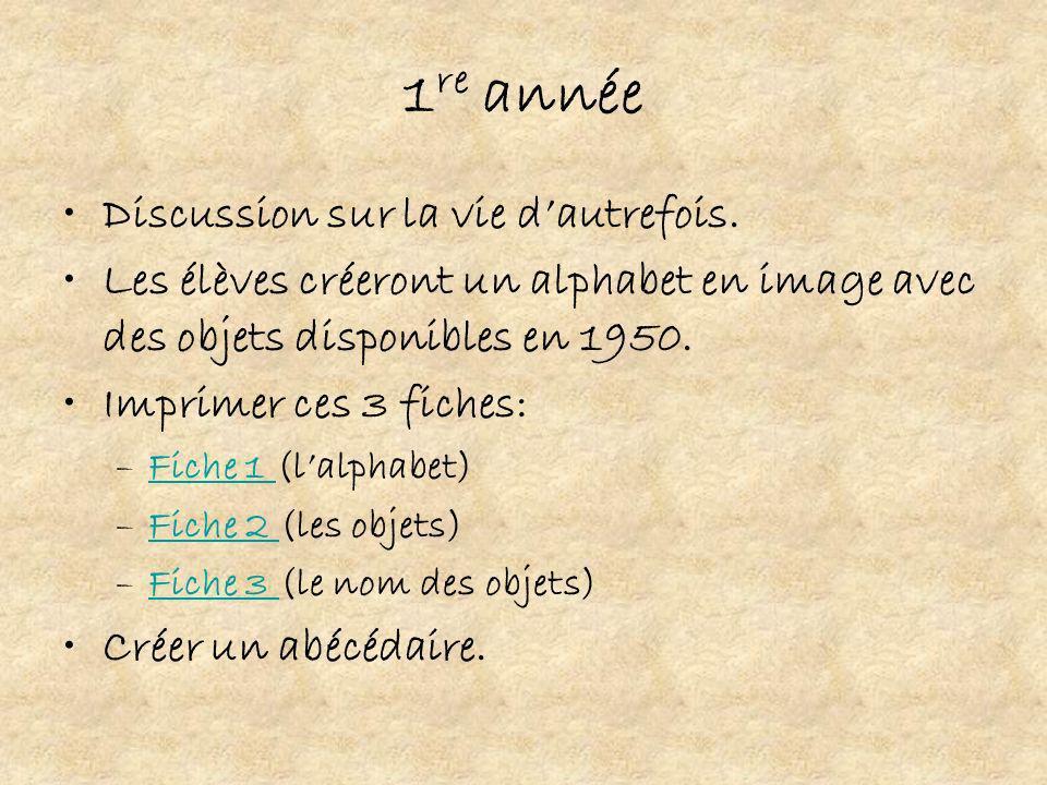 1 re année Discussion sur la vie dautrefois. Les élèves créeront un alphabet en image avec des objets disponibles en 1950. Imprimer ces 3 fiches: –Fic