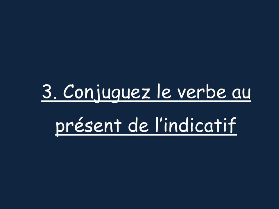 3. Conjuguez le verbe au présent de lindicatif