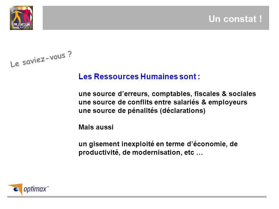 Un constat ! Les Ressources Humaines sont : une source derreurs, comptables, fiscales & sociales une source de conflits entre salariés & employeurs un