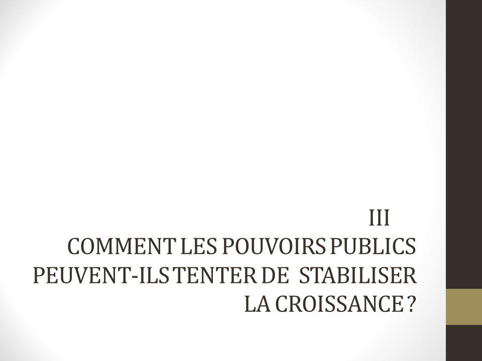 III COMMENT LES POUVOIRS PUBLICS PEUVENT-ILS TENTER DE STABILISER LA CROISSANCE ?