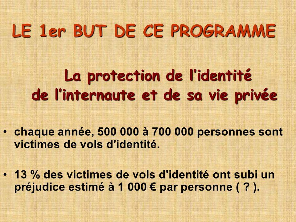 LE 1er BUT DE CE PROGRAMME La protection de lidentité La protection de lidentité de linternaute et de sa vie privée de linternaute et de sa vie privée chaque année, 500 000 à 700 000 personnes sont victimes de vols d identité.