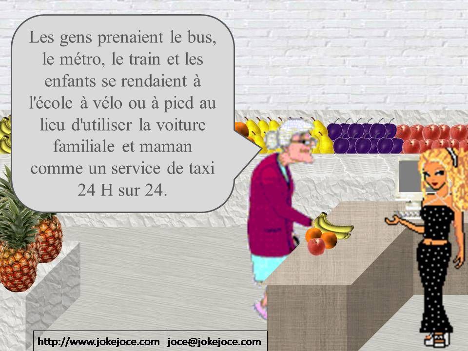 Les gens prenaient le bus, le métro, le train et les enfants se rendaient à l école à vélo ou à pied au lieu d utiliser la voiture familiale et maman comme un service de taxi 24 H sur 24.