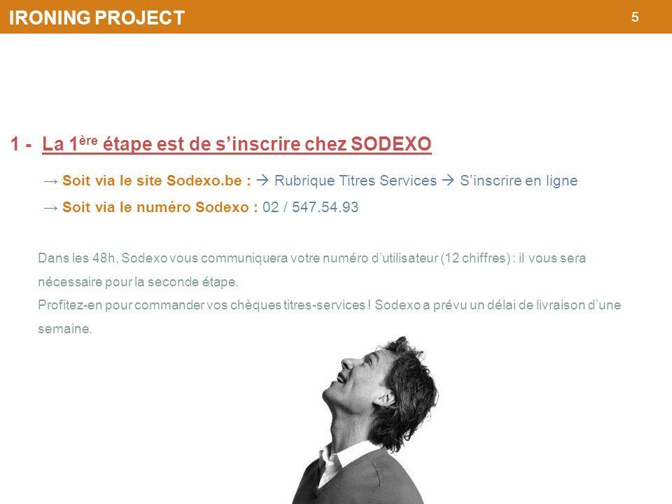 5 IRONING PROJECT 1 - La 1 ère étape est de sinscrire chez SODEXO Soit via le site Sodexo.be : Rubrique Titres Services Sinscrire en ligne Soit via le