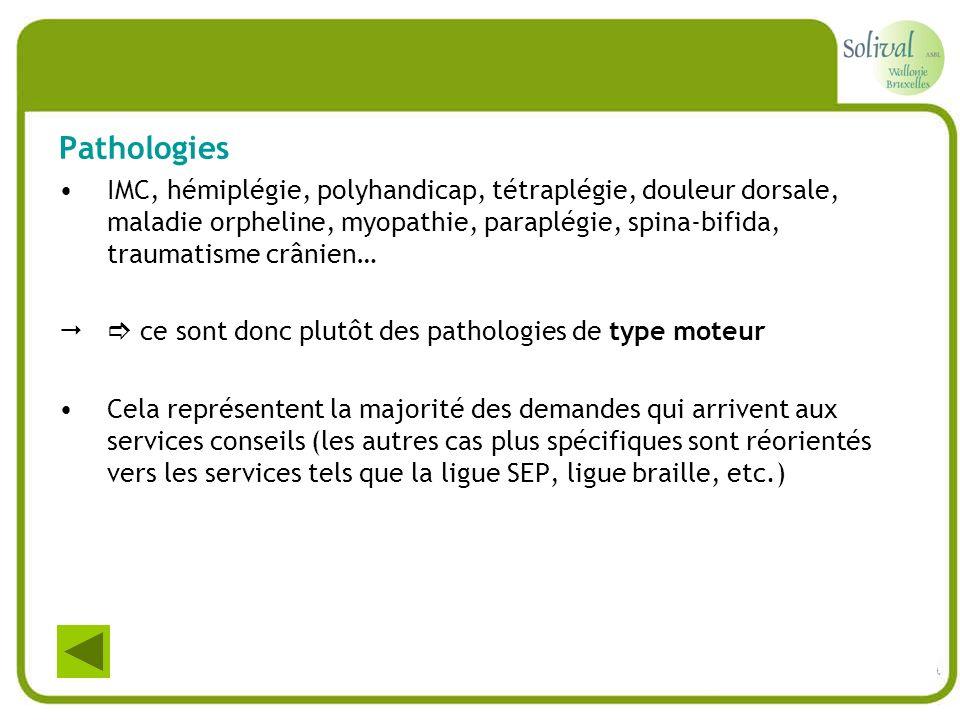 Pathologies IMC, hémiplégie, polyhandicap, tétraplégie, douleur dorsale, maladie orpheline, myopathie, paraplégie, spina-bifida, traumatisme crânien…