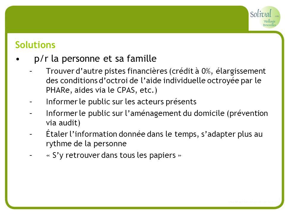 Solutions p/r la personne et sa famille –Trouver dautre pistes financières (crédit à 0%, élargissement des conditions doctroi de laide individuelle oc