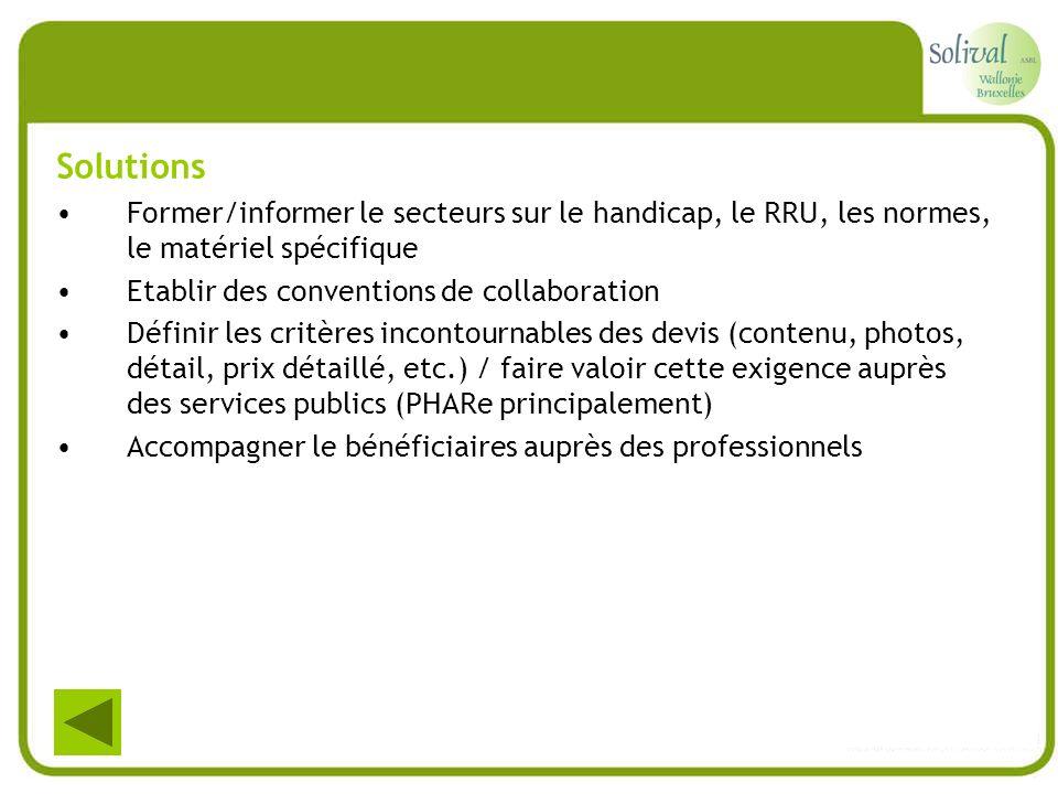 Solutions Former/informer le secteurs sur le handicap, le RRU, les normes, le matériel spécifique Etablir des conventions de collaboration Définir les