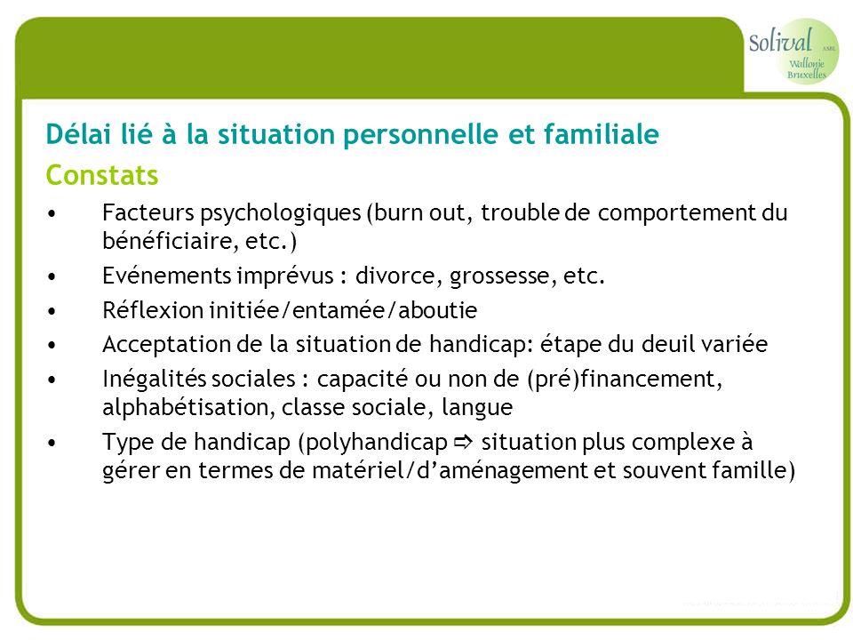 Délai lié à la situation personnelle et familiale Constats Facteurs psychologiques (burn out, trouble de comportement du bénéficiaire, etc.) Evénement