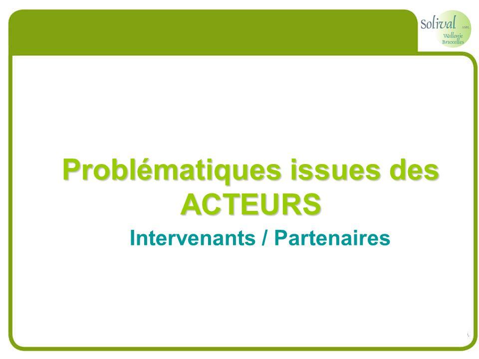 Problématiques issues des ACTEURS Intervenants / Partenaires