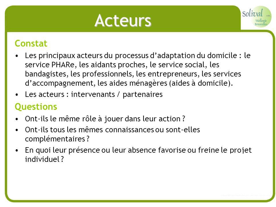 Acteurs Constat Les principaux acteurs du processus dadaptation du domicile : le service PHARe, les aidants proches, le service social, les bandagiste