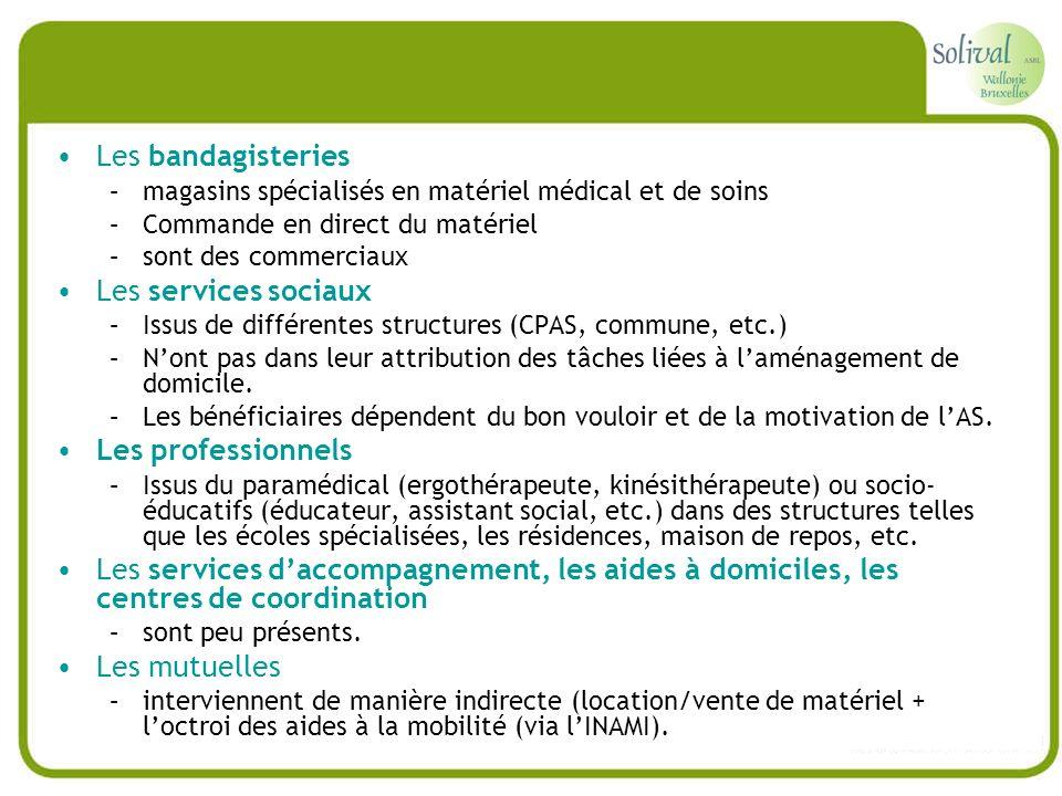 Les bandagisteries –magasins spécialisés en matériel médical et de soins –Commande en direct du matériel –sont des commerciaux Les services sociaux –I