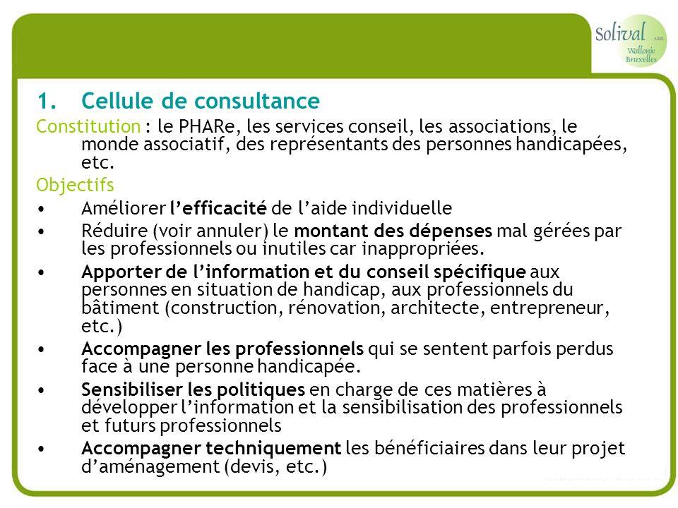 1.Cellule de consultance Constitution : le PHARe, les services conseil, les associations, le monde associatif, des représentants des personnes handica