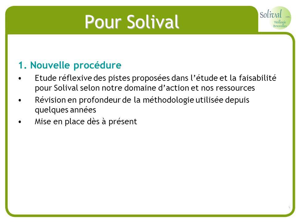 Pour Solival 1. Nouvelle procédure Etude réflexive des pistes proposées dans létude et la faisabilité pour Solival selon notre domaine daction et nos