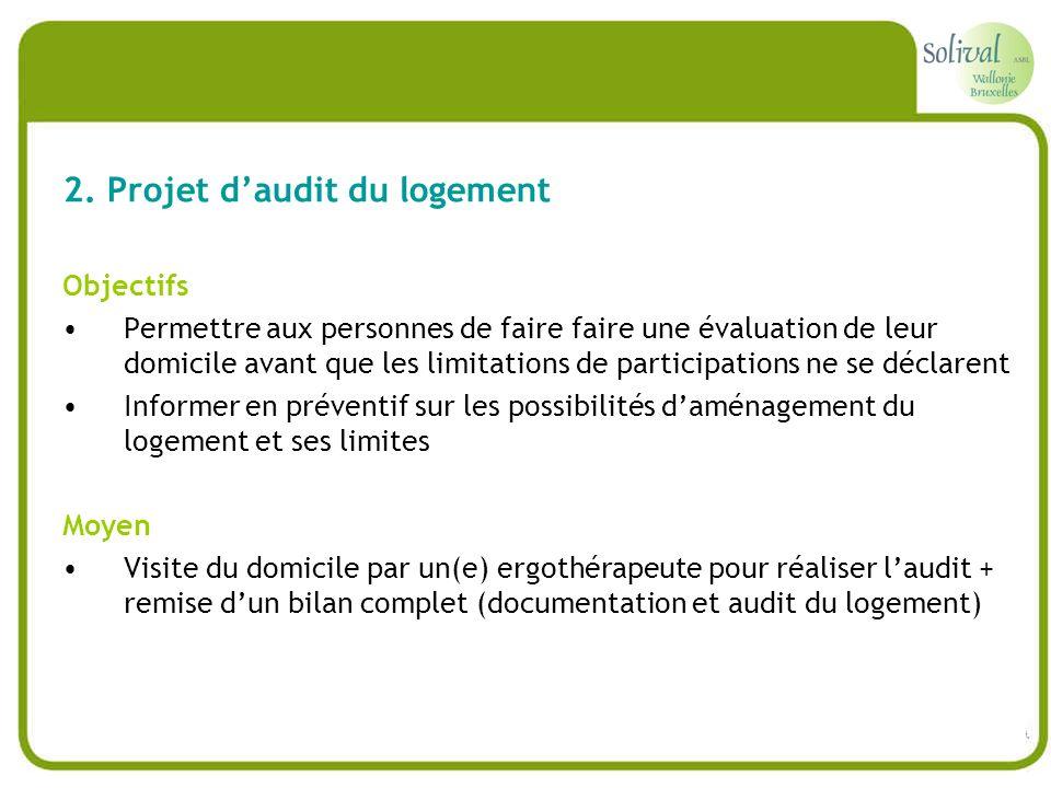 2. Projet daudit du logement Objectifs Permettre aux personnes de faire faire une évaluation de leur domicile avant que les limitations de participati