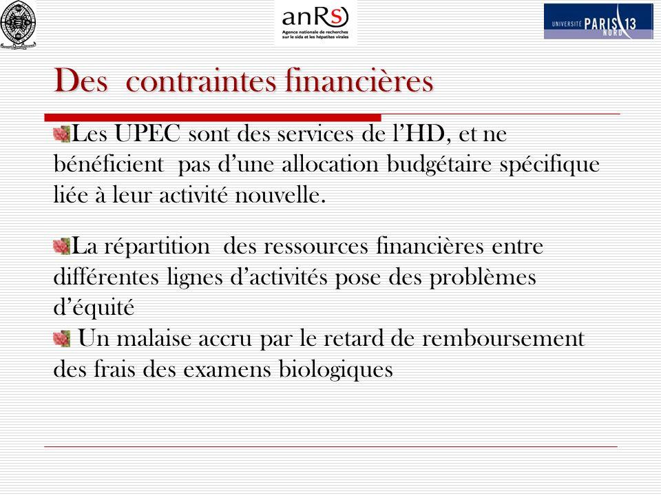 Des contraintes financières Les UPEC sont des services de lHD, et ne bénéficient pas dune allocation budgétaire spécifique liée à leur activité nouvel