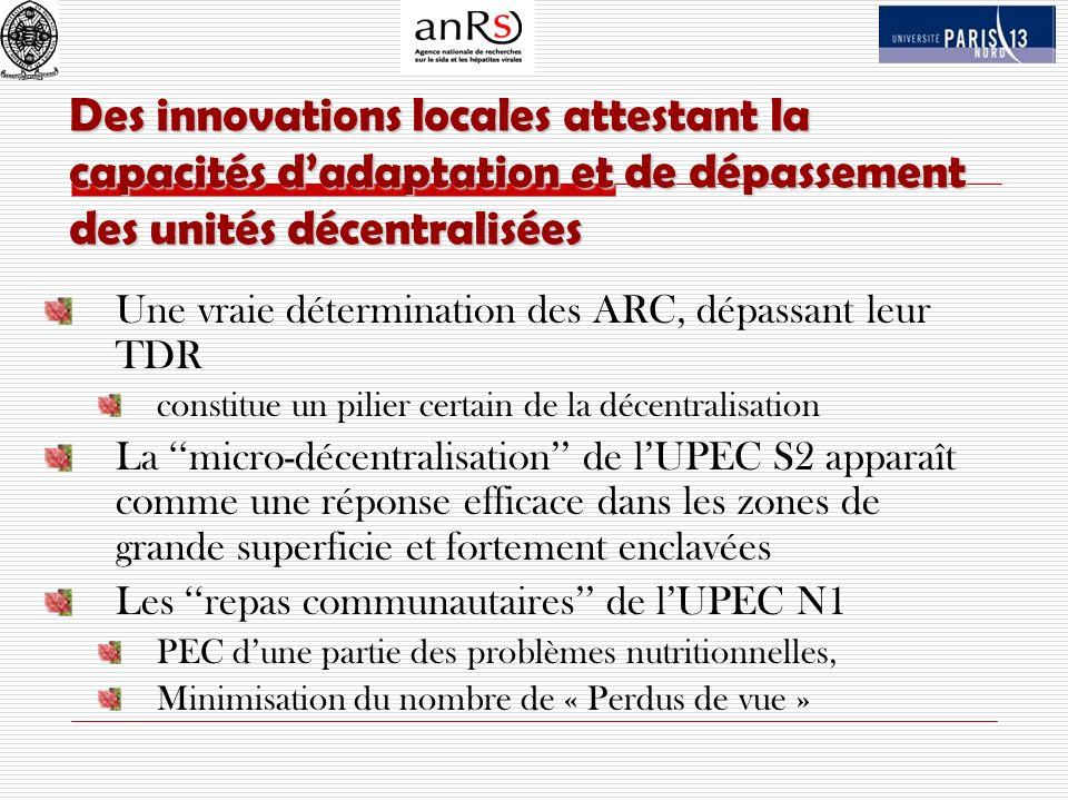 Des innovations locales attestant la capacités dadaptation et de dépassement des unités décentralisées Une vraie détermination des ARC, dépassant leur