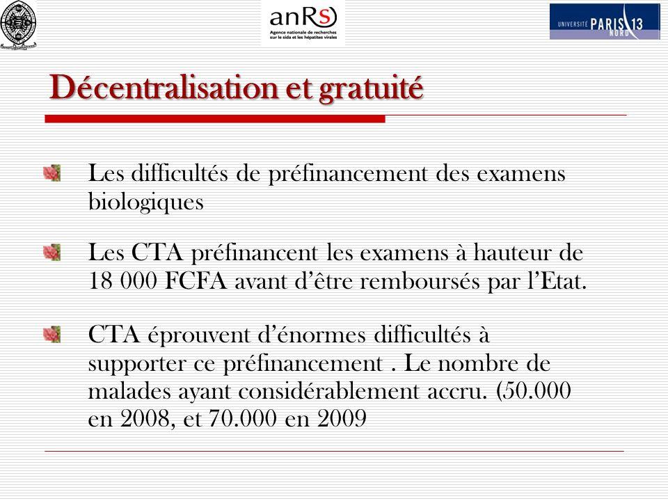 Décentralisation et gratuité Les difficultés de préfinancement des examens biologiques Les CTA préfinancent les examens à hauteur de 18 000 FCFA avant