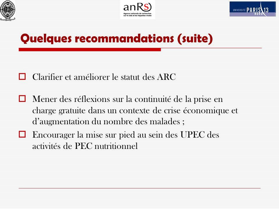 Quelques recommandations (suite) Clarifier et améliorer le statut des ARC Mener des réflexions sur la continuité de la prise en charge gratuite dans u