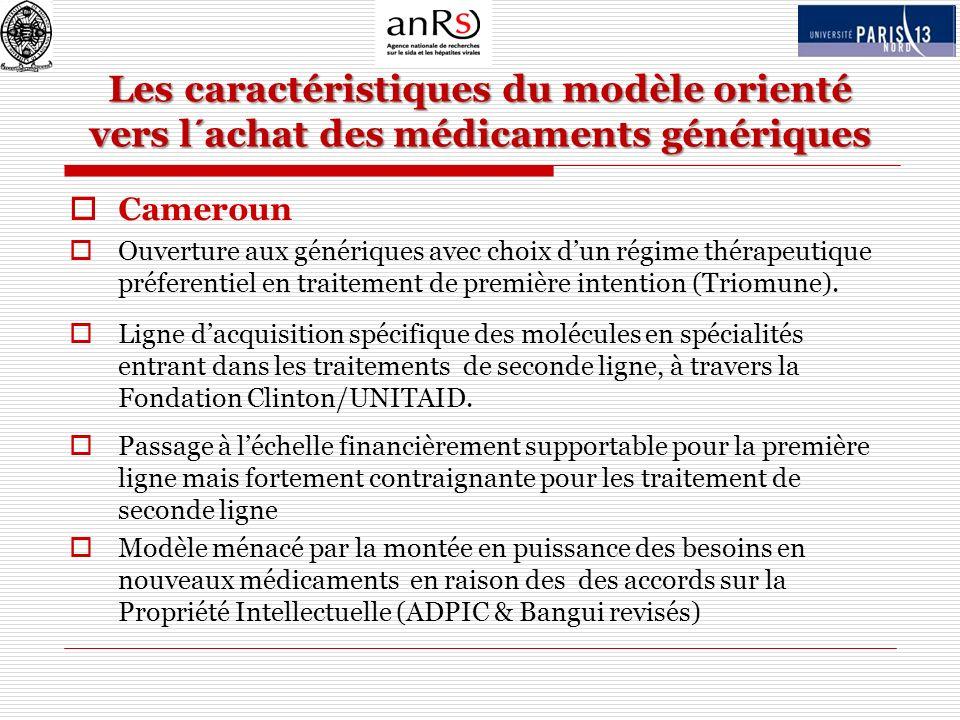 Les caractéristiques du modèle orienté vers l´achat des médicaments génériques Cameroun Ouverture aux génériques avec choix dun régime thérapeutique p