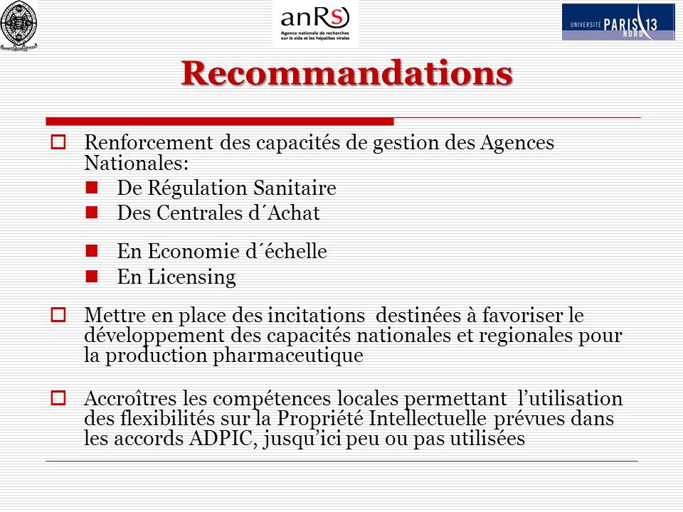 Recommandations Renforcement des capacités de gestion des Agences Nationales: De Régulation Sanitaire Des Centrales d´Achat En Economie d´échelle En L