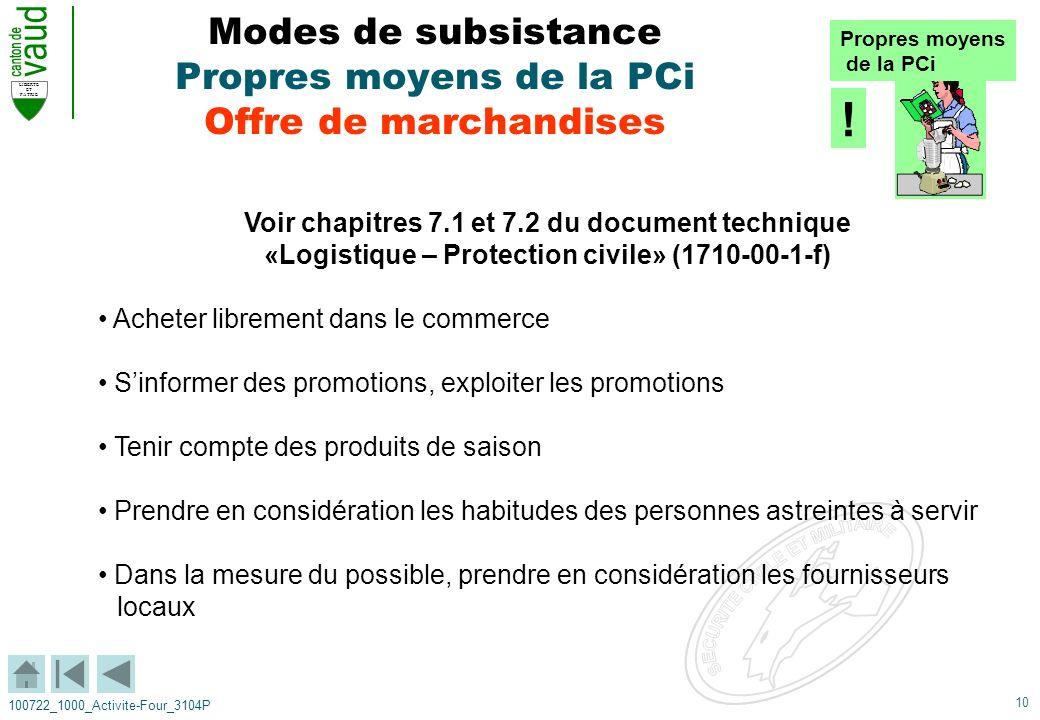 10 LIBERTE ET PATRIE 100722_1000_Activite-Four_3104P Modes de subsistance Propres moyens de la PCi Offre de marchandises Voir chapitres 7.1 et 7.2 du