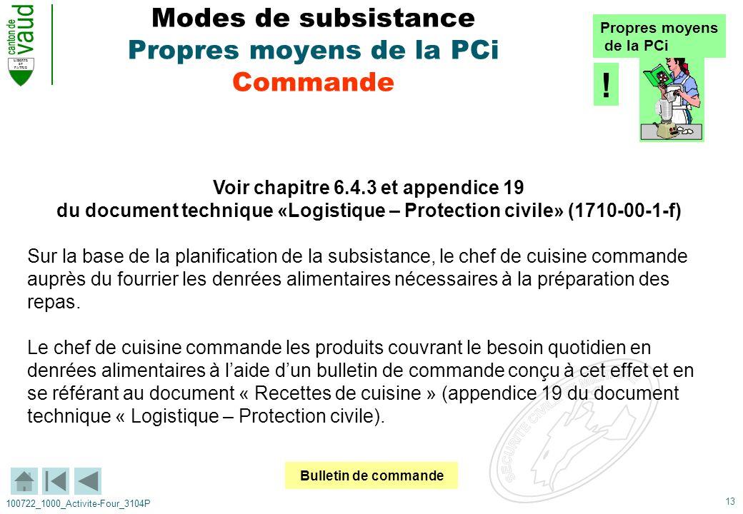 13 LIBERTE ET PATRIE 100722_1000_Activite-Four_3104P Modes de subsistance Propres moyens de la PCi Commande Voir chapitre 6.4.3 et appendice 19 du doc