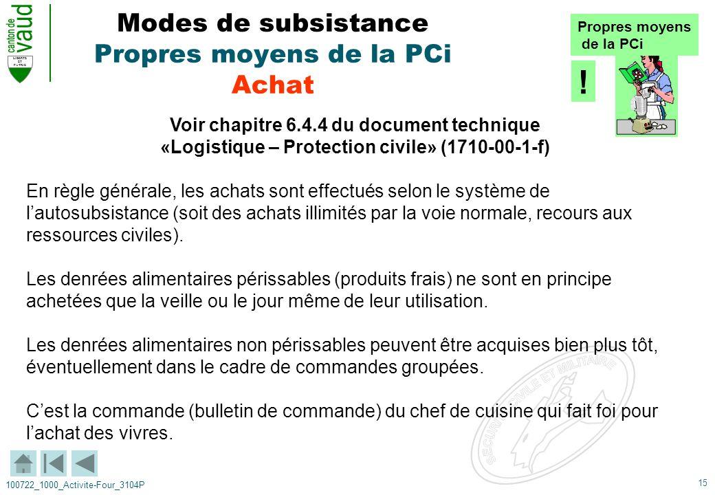 15 LIBERTE ET PATRIE 100722_1000_Activite-Four_3104P Modes de subsistance Propres moyens de la PCi Achat Voir chapitre 6.4.4 du document technique «Lo