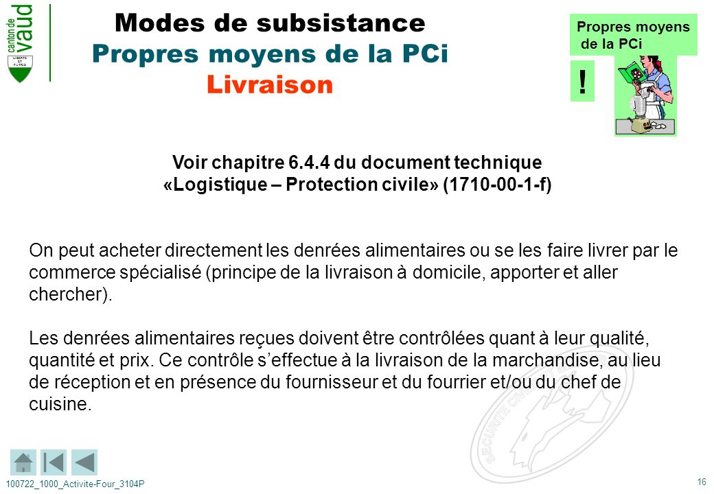 16 LIBERTE ET PATRIE 100722_1000_Activite-Four_3104P Modes de subsistance Propres moyens de la PCi Livraison Voir chapitre 6.4.4 du document technique