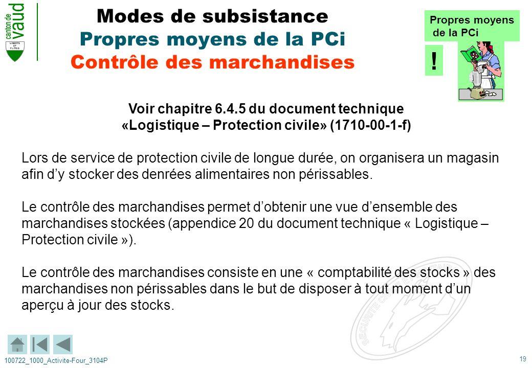 19 LIBERTE ET PATRIE 100722_1000_Activite-Four_3104P Modes de subsistance Propres moyens de la PCi Contrôle des marchandises Voir chapitre 6.4.5 du do