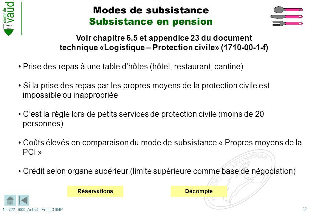 22 LIBERTE ET PATRIE 100722_1000_Activite-Four_3104P Voir chapitre 6.5 et appendice 23 du document technique «Logistique – Protection civile» (1710-00