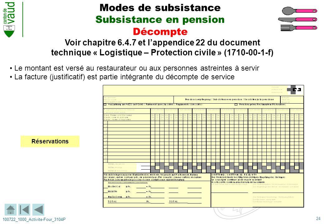24 LIBERTE ET PATRIE 100722_1000_Activite-Four_3104P Voir chapitre 6.4.7 et lappendice 22 du document technique « Logistique – Protection civile » (17