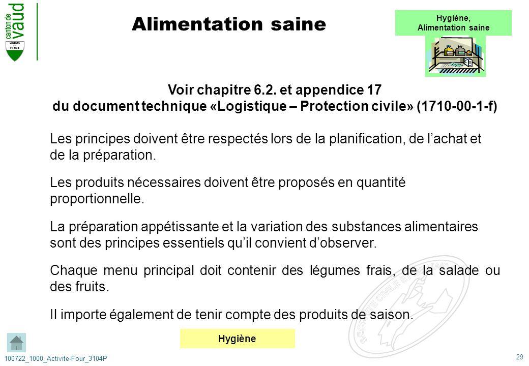 29 LIBERTE ET PATRIE 100722_1000_Activite-Four_3104P Voir chapitre 6.2. et appendice 17 du document technique «Logistique – Protection civile» (1710-0