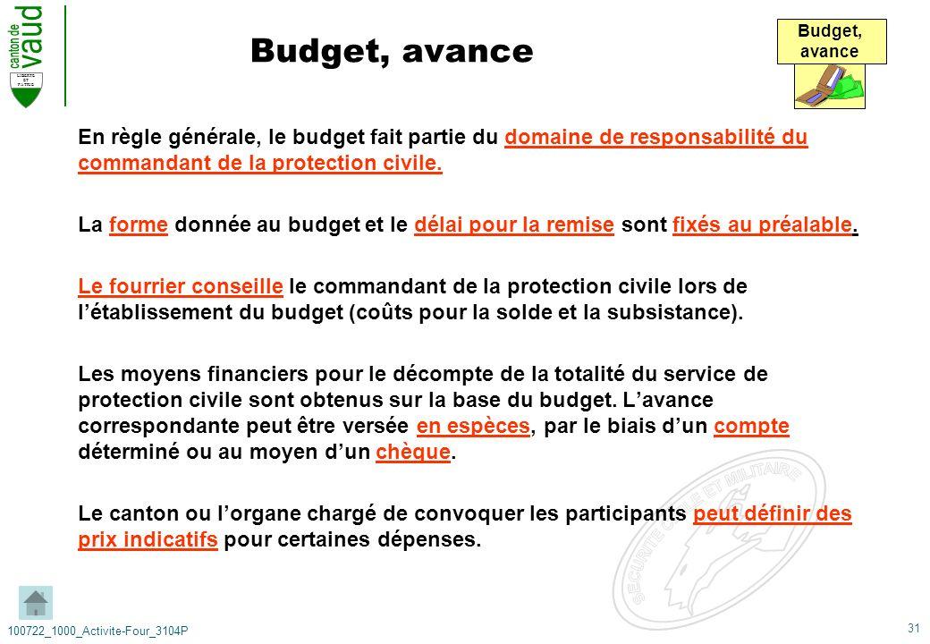 31 LIBERTE ET PATRIE 100722_1000_Activite-Four_3104P Budget, avance En règle générale, le budget fait partie du domaine de responsabilité du commandan
