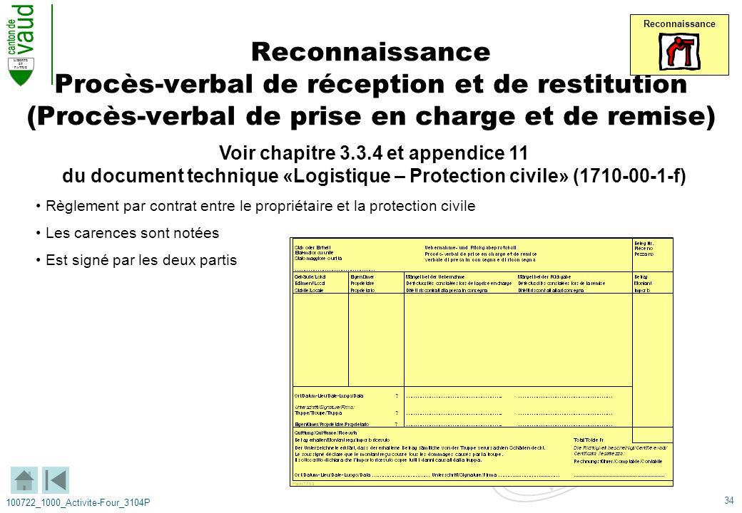 34 LIBERTE ET PATRIE 100722_1000_Activite-Four_3104P Reconnaissance Procès-verbal de réception et de restitution (Procès-verbal de prise en charge et