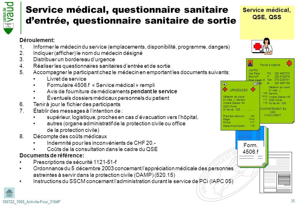 35 LIBERTE ET PATRIE 100722_1000_Activite-Four_3104P Service médical, questionnaire sanitaire dentrée, questionnaire sanitaire de sortie Déroulement: