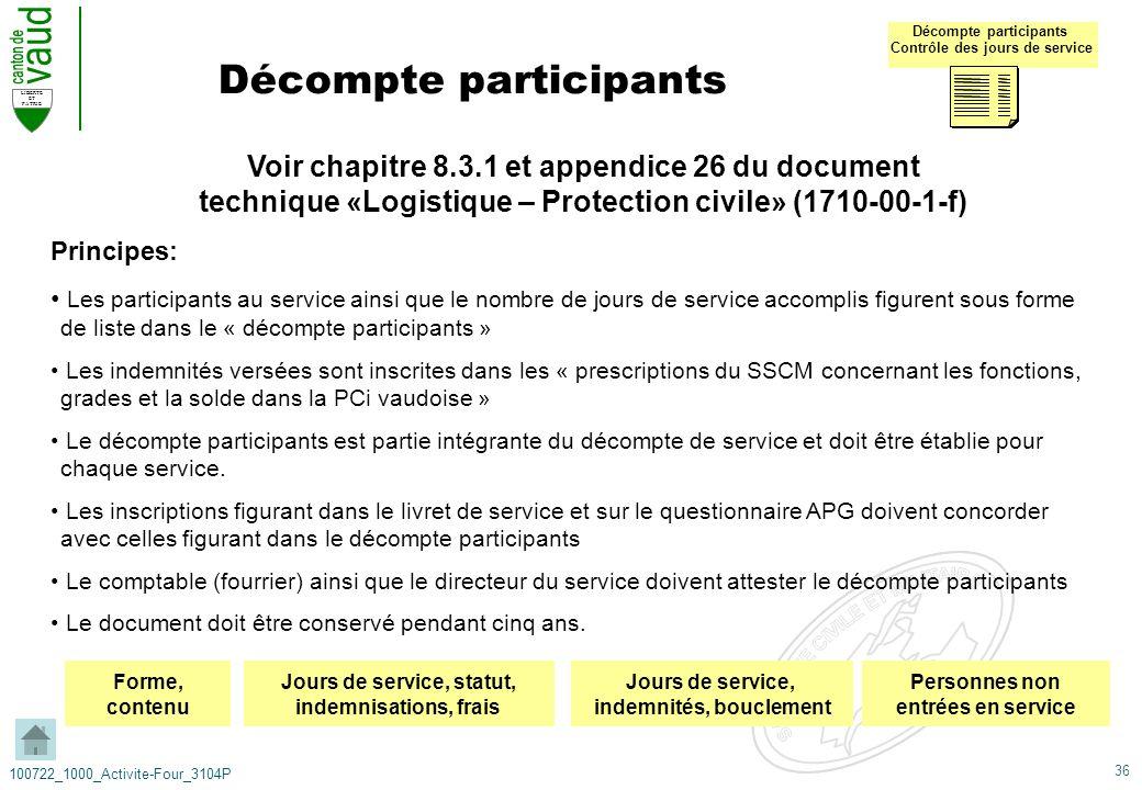 36 LIBERTE ET PATRIE 100722_1000_Activite-Four_3104P Décompte participants Voir chapitre 8.3.1 et appendice 26 du document technique «Logistique – Pro