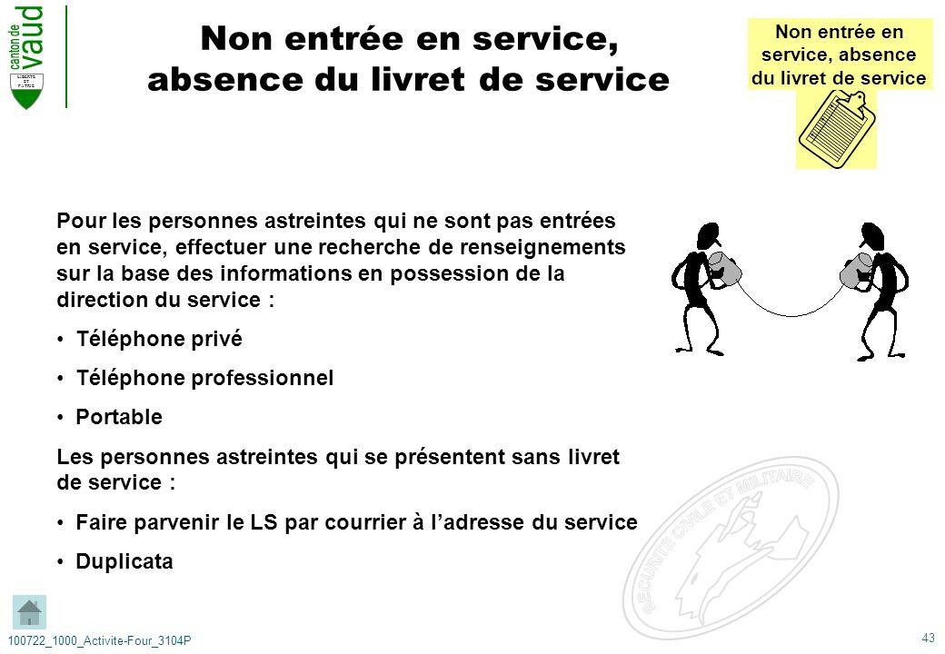 43 LIBERTE ET PATRIE 100722_1000_Activite-Four_3104P Non entrée en service, absence du livret de service Non entrée en service, absence du livret de s