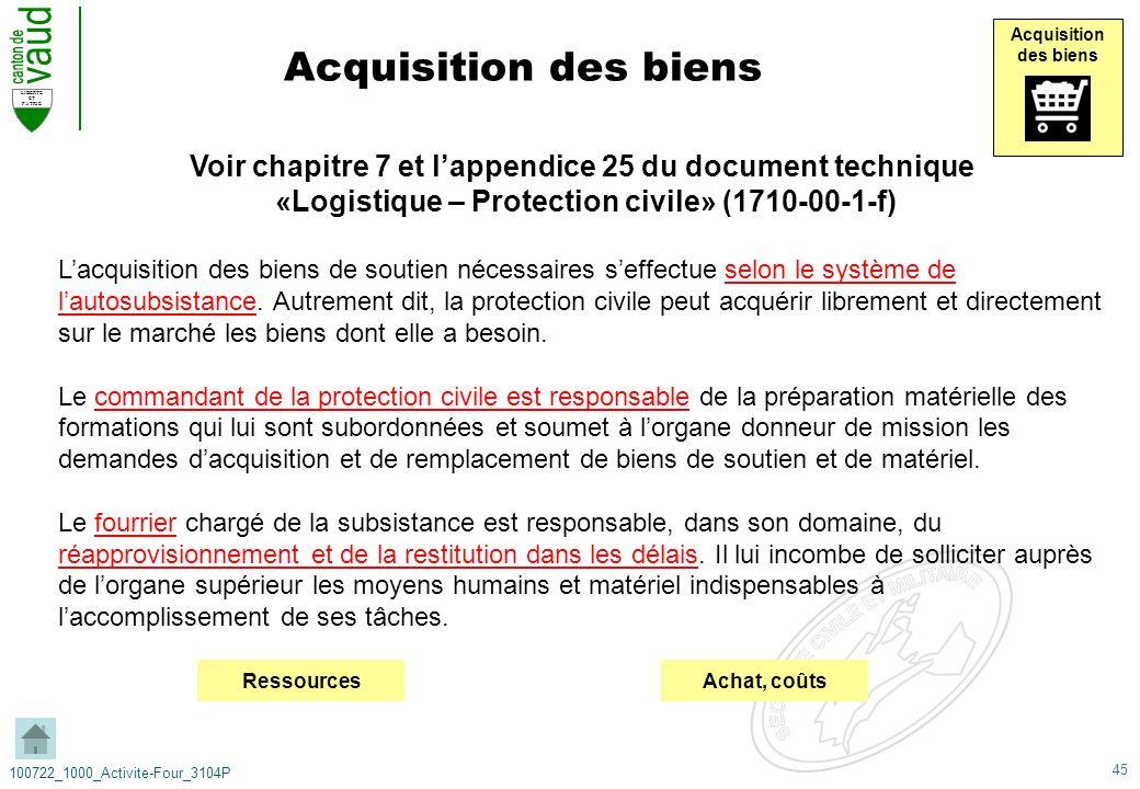 45 LIBERTE ET PATRIE 100722_1000_Activite-Four_3104P Acquisition des biens Acquisition des biens Voir chapitre 7 et lappendice 25 du document techniqu