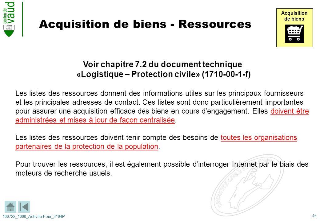 46 LIBERTE ET PATRIE 100722_1000_Activite-Four_3104P Acquisition de biens - Ressources Voir chapitre 7.2 du document technique «Logistique – Protectio