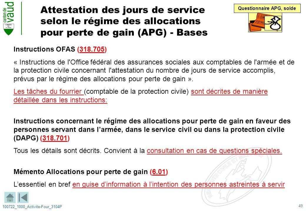 49 LIBERTE ET PATRIE 100722_1000_Activite-Four_3104P Attestation des jours de service selon le régime des allocations pour perte de gain (APG) - Bases