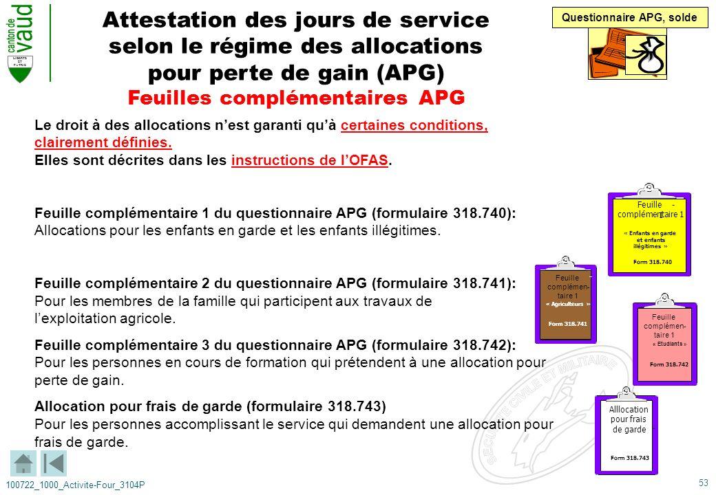 53 LIBERTE ET PATRIE 100722_1000_Activite-Four_3104P Attestation des jours de service selon le régime des allocations pour perte de gain (APG) Feuille