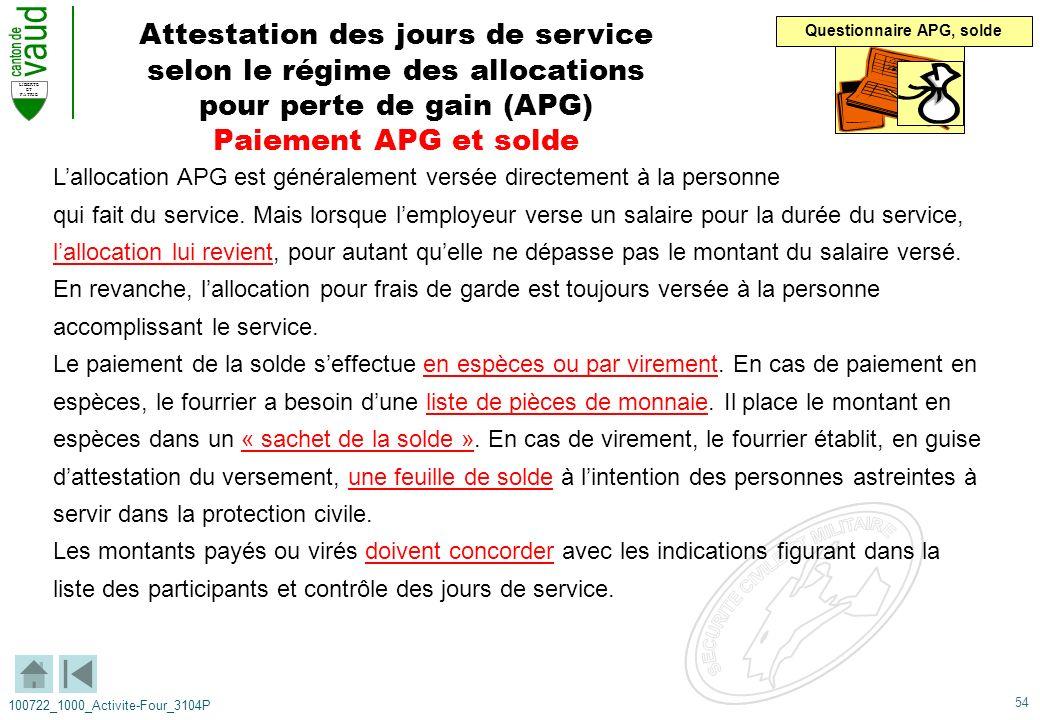 54 LIBERTE ET PATRIE 100722_1000_Activite-Four_3104P Attestation des jours de service selon le régime des allocations pour perte de gain (APG) Paiemen