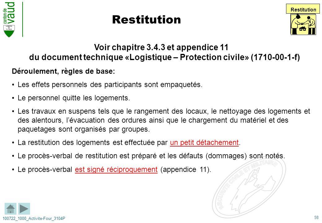 58 LIBERTE ET PATRIE 100722_1000_Activite-Four_3104P Restitution Voir chapitre 3.4.3 et appendice 11 du document technique «Logistique – Protection ci