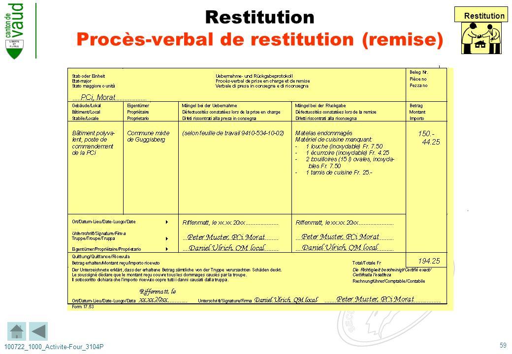 59 LIBERTE ET PATRIE 100722_1000_Activite-Four_3104P Restitution Procès-verbal de restitution (remise) Restitution
