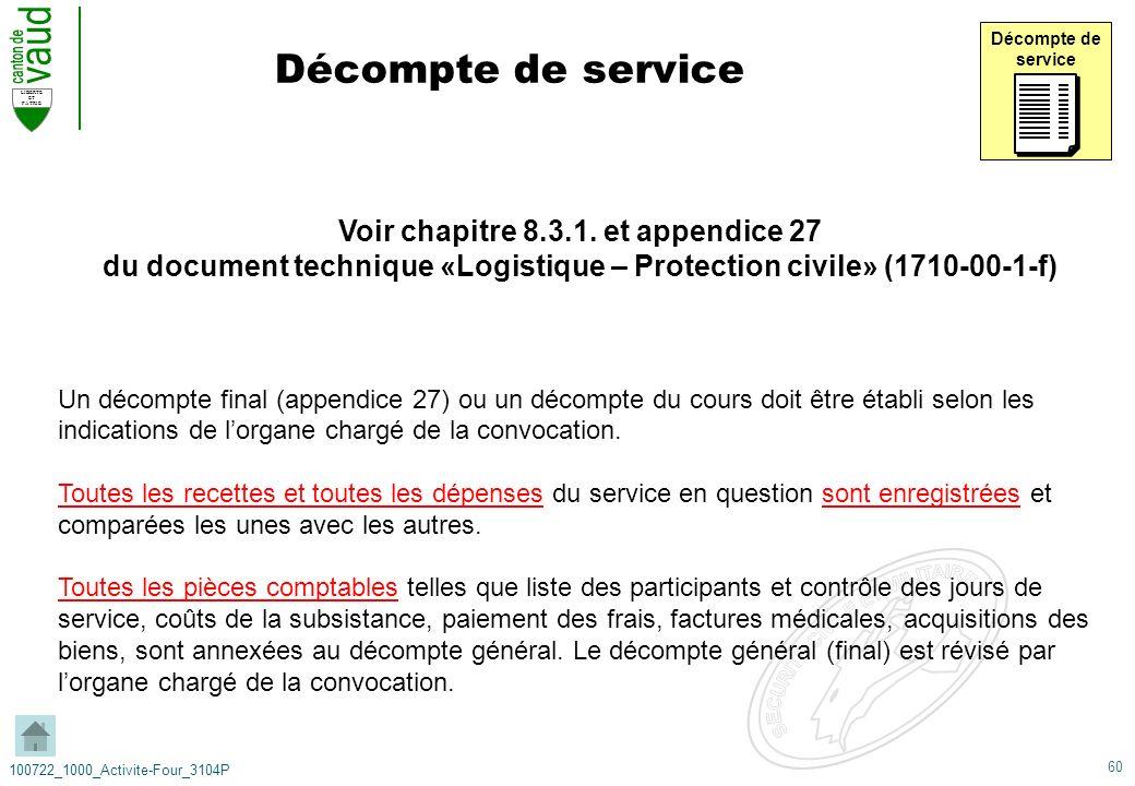 60 LIBERTE ET PATRIE 100722_1000_Activite-Four_3104P Décompte de service Décompte de service Voir chapitre 8.3.1. et appendice 27 du document techniqu