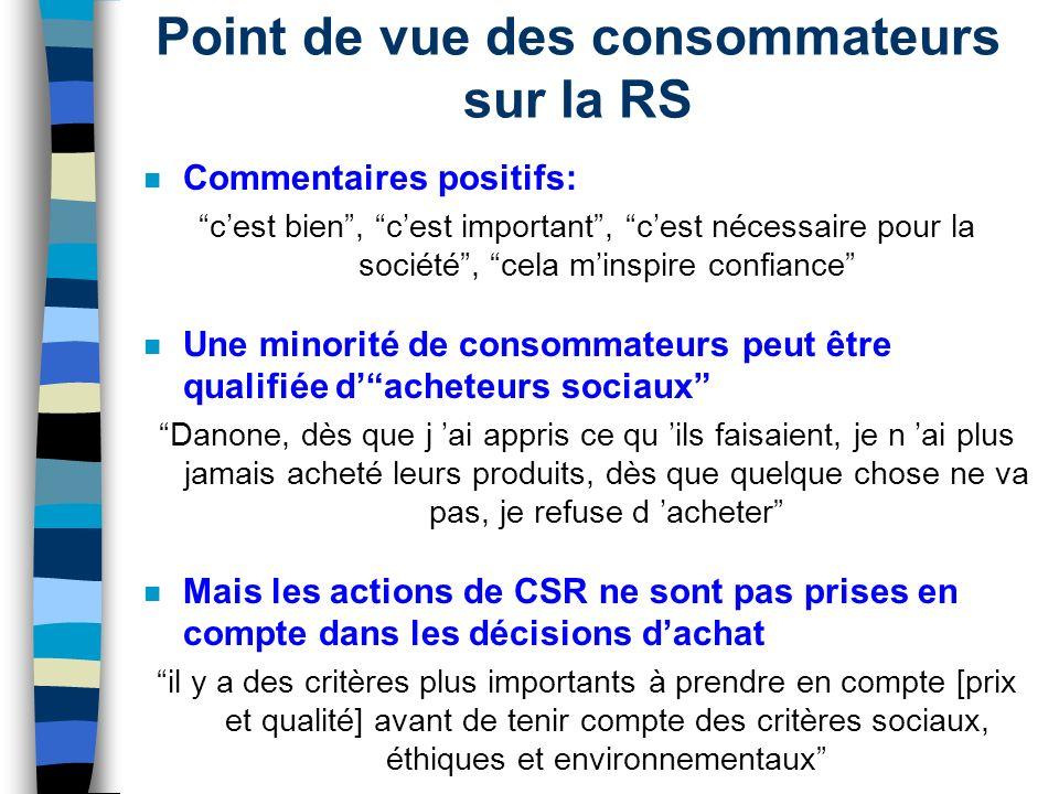 Point de vue des consommateurs sur la RS n Commentaires positifs: cest bien, cest important, cest nécessaire pour la société, cela minspire confiance