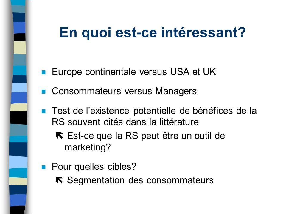 En quoi est-ce intéressant? n Europe continentale versus USA et UK n Consommateurs versus Managers n Test de lexistence potentielle de bénéfices de la