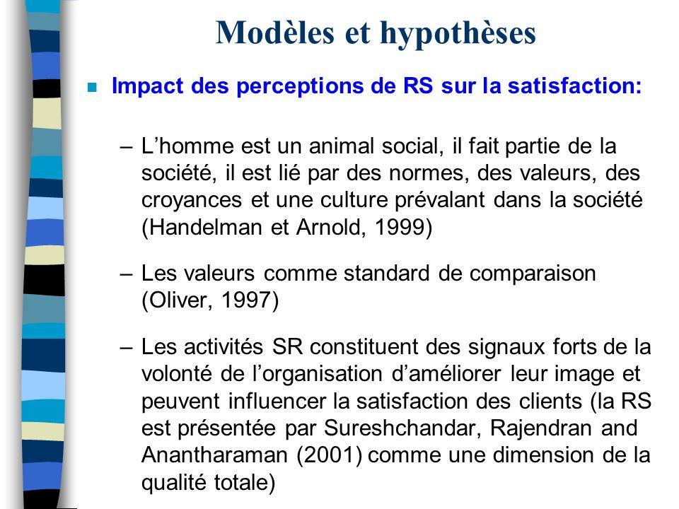 Modèles et hypothèses n Impact des perceptions de RS sur la satisfaction: –Lhomme est un animal social, il fait partie de la société, il est lié par d