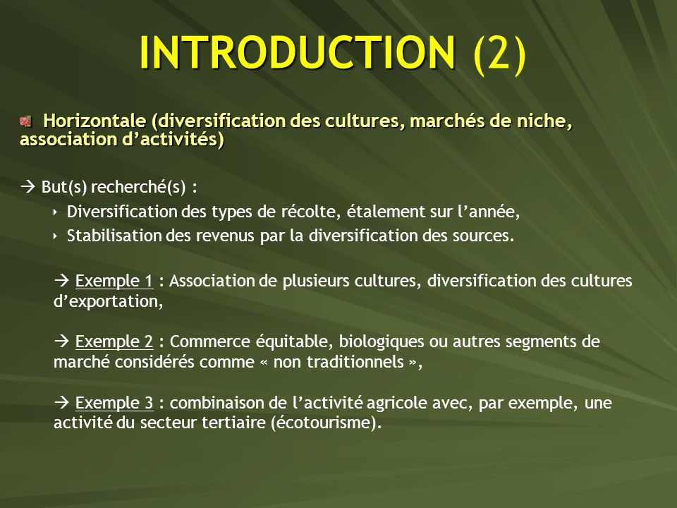 INTRODUCTION INTRODUCTION (2) Horizontale (diversification des cultures, marchés de niche, association dactivités) Horizontale (diversification des cu