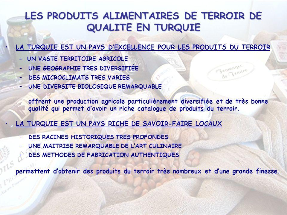 LES PRODUITS ALIMENTAIRES DE TERROIR DE QUALITE EN TURQUIE LA TURQUIE EST UN PAYS DEXCELLENCE POUR LES PRODUITS DU TERROIR - UN VASTE TERRITOIRE AGRICOLE –UNE GEOGRAPHIE TRES DIVERSIFIÉE –DES MICROCLIMATS TRES VARIES –UNE DIVERSITE BIOLOGIQUE REMARQUABLE offrent une production agricole particulièrement diversifiée et de très bonne qualité qui permet davoir un riche catalogue de produits du terroir.