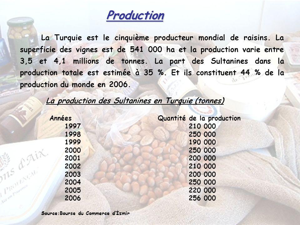 Production La Turquie est le cinquième producteur mondial de raisins.